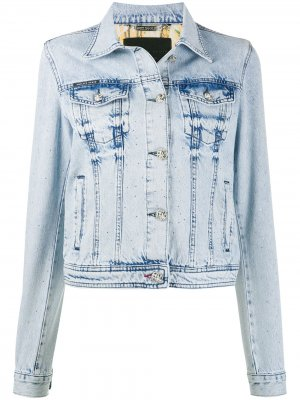 Джинсовая куртка из вареного денима Philipp Plein. Цвет: синий