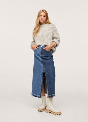 Контрастная джинсовая юбк - Iggy Mango. Цвет: синий средний