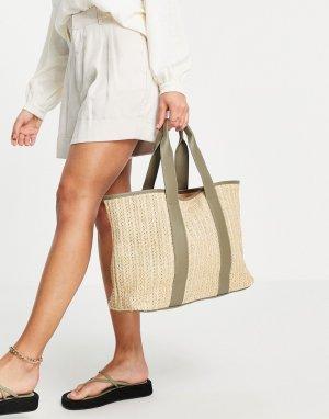 Плетеная пляжная сумка-тоут бежевого цвета с шалфейно-зелеными ручками -Многоцветный French Connection