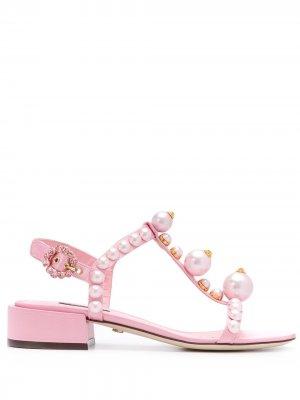 Декорированные атласные сандалии Dolce & Gabbana. Цвет: розовый