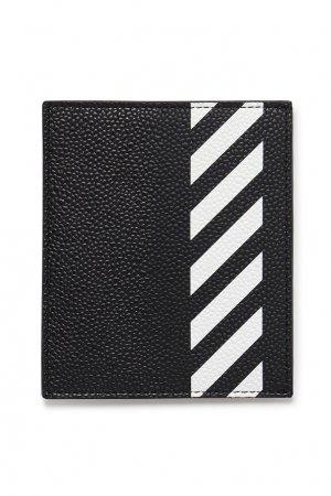 Черная визитница с полосками Off-white. Цвет: черный