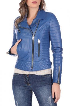Кожаная куртка GIORGIO DI MARE. Цвет: синий