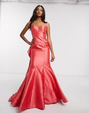 Платье с открытыми плечами и годе -Розовый Jovani
