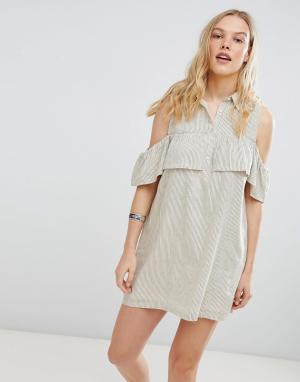 Платье-рубашка в полоску Jinette Deby Debo. Цвет: кремовый