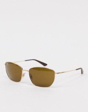 Солнцезащитные очки Rayban с линзами шестиугольной формы в золотистой оправе-Золотой Ray-Ban