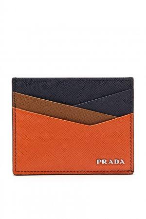 Разноцветный картхолдер с логотипом Prada. Цвет: синий