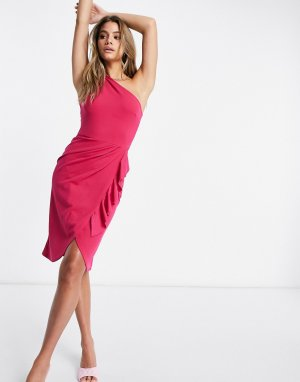 Розовое платье миди на одно плечо со сборками -Розовый Lipsy