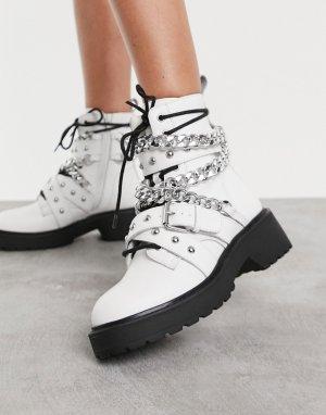 Белые массивные ботинки с цепями Temina-Белый Steve Madden