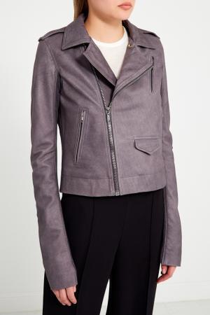 Серая кожаная куртка с карманами Rick Owens. Цвет: серый
