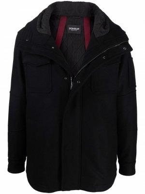 Куртка из смесовой шерсти с капюшоном и карманами DONDUP. Цвет: черный