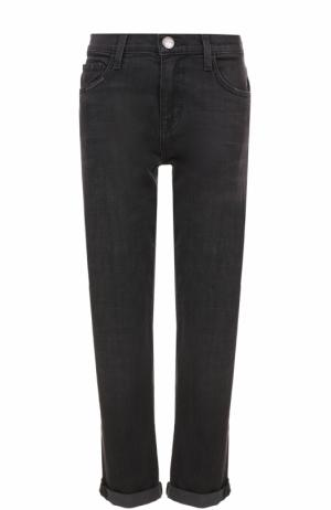 Укороченные джинсы прямого кроя с потертостями Current/Elliott. Цвет: черный