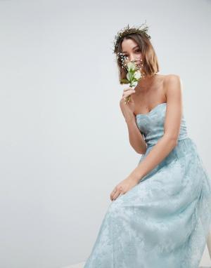 Платье-бандо макси с изящной прозрачной кружевной вставкой -Зеленый ASOS DESIGN