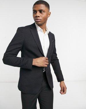 Фактурный пиджак облегающего кроя с узором «гусиная лапка» -Черный цвет Bolongaro Trevor