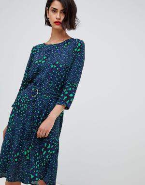 Платье с поясом и леопардовым принтом 2NDDAY 2nd Day. Цвет: мульти