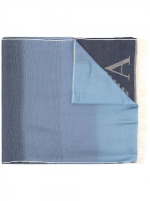 Шарф с эффектом градиента и логотипом Emporio Armani. Цвет: синий