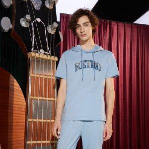 Мужской с текстовым принтом капюшоном Футболка & Спортивные брюки SHEIN. Цвет: пыльно-синий
