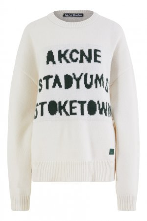 Белый свитшот с темно-зелеными надписями Acne Studios. Цвет: белый