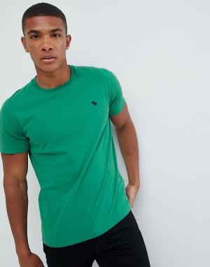 Зеленая футболка с круглым вырезом Abercrombie & Fitch. Цвет: зеленый