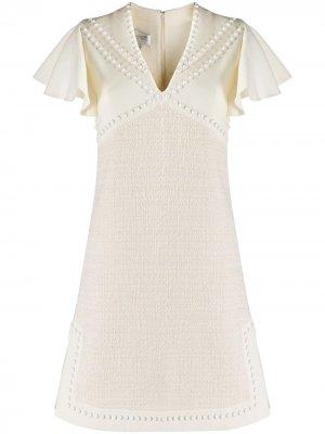 Платье с заклепками и V-образным вырезом Giambattista Valli. Цвет: нейтральные цвета