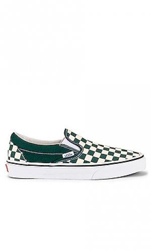 Слипоны Vans. Цвет: зеленый, белый
