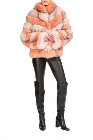 Short fur coat Manakas. Цвет: coral, beige