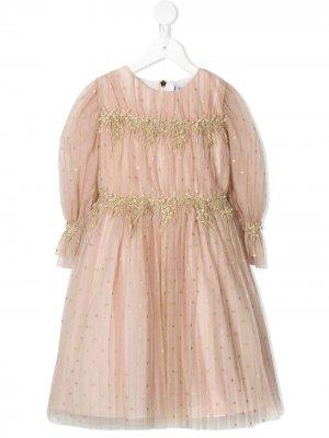 Платье с длинными рукавами и цветочной вышивкой Lesy. Цвет: розовый