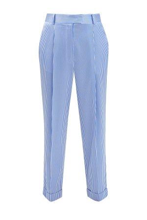 Прямые брюки на высокой посадке из гладкого атласа stretch ERMANNO SCERVINO. Цвет: голубой