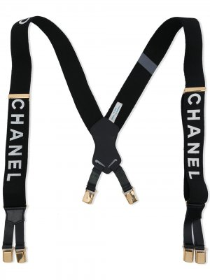 Подтяжки с логотипом Chanel Pre-Owned. Цвет: черный