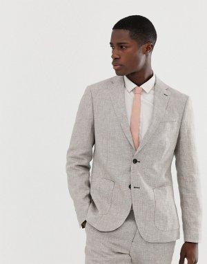 Светло-бежевый зауженный пиджак из льняной ткани Celio
