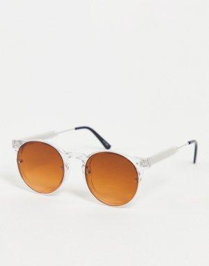 Солнцезащитные очки унисекс в круглой прозрачной оправе с коричневыми линзами Post Punk-Прозрачный Spitfire