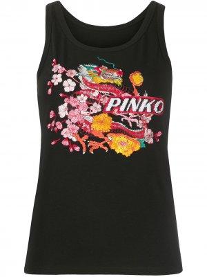 Топ без рукавов с принтом Pinko. Цвет: черный