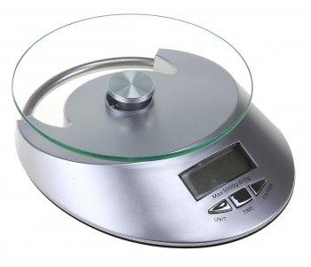 Весы кухонные luazon lvk-509, электронные, до 5 кг, встроенные часы, серебристые Home