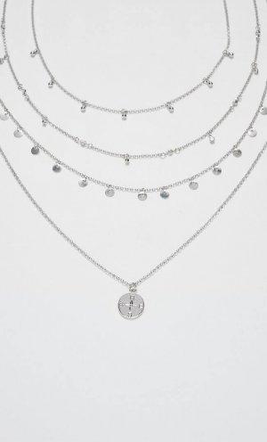 Набор Из 4 Цепочек С Подвесками В Виде Монет И Кристаллов Str Серый 103 Stradivarius. Цвет: серый