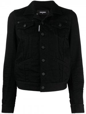 Джинсовая куртка с логотипом Icon Dsquared2. Цвет: черный