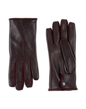 Перчатки BURBERRY. Цвет: красно-коричневый