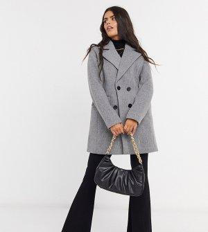 Двубортное пальто-бушлат -Серый Fashion Union Petite