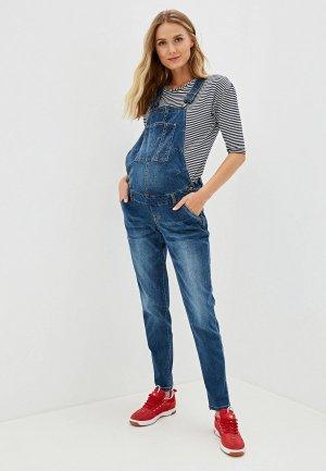 Комбинезон джинсовый Mamalicious. Цвет: синий