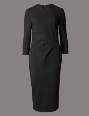Прямое офисное платье из ткани мультистретч M&S Collection. Цвет: черный