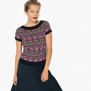 Пуловер с короткими рукавами и жаккардовым рисунком LA REDOUTE COLLECTIONS. Цвет: жакард
