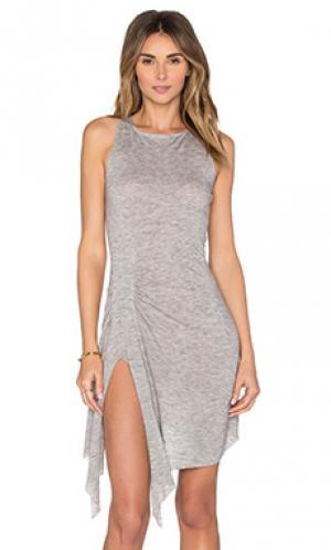 Платье из джерси с y-образными шлейками на спине KENDALL + KYLIE. Цвет: серый