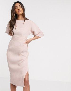 Розовое платье миди с рукавами-кимоно -Розовый Closet London