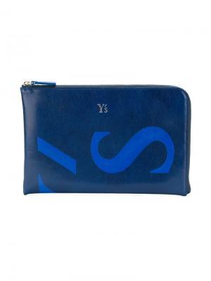 Кошелек с логотипом Y's. Цвет: синий