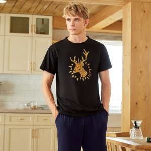 Мужская домашняя футболка с абстрактным рисунком животных SHEIN. Цвет: многоцветный