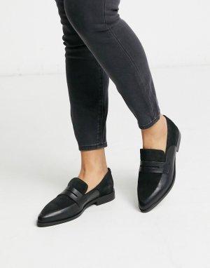 Кожаные лоферы для широкой стопы -Черный Vero Moda