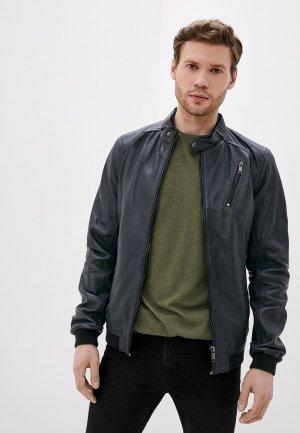 Куртка кожаная Urban Fashion for Men. Цвет: синий