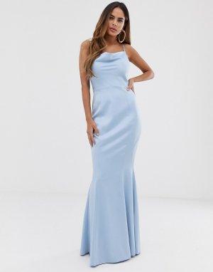 Синее платье макси со свободным воротом -Голубой Lipsy