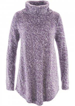 Пуловер-пончо с длинным рукавом bonprix. Цвет: лиловый
