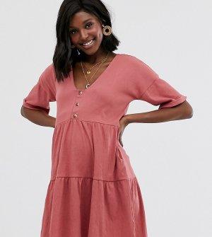 Фактурное свободное платье на пуговицах с ярусной юбкой ASOS DESIGN Maternity-Розовый Maternity
