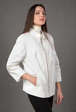 Турецкая кожаная куртка свободного кроя VESUTTI. Цвет: белый