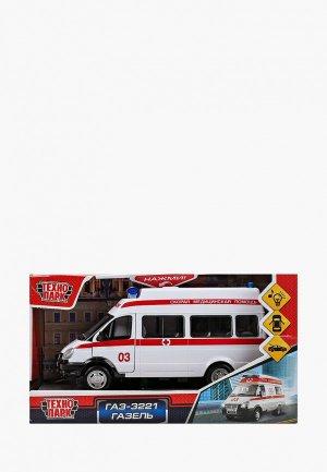 Игрушка интерактивная Технопарк Машина Скорой помощи, Газель, длина 20 см. Цвет: белый